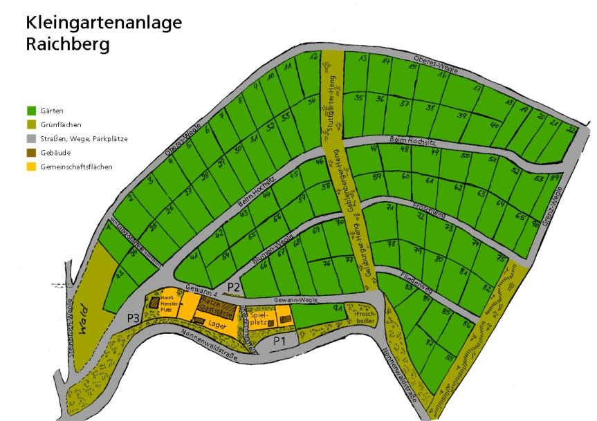 Plan von Gartenanlage